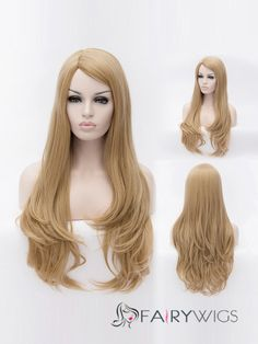 Concise Long Flaxen Female Wavy Capless Hair Wig 29 Inch