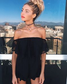 New arrivals have touched down and boy are we loving this super cute black off the shoulder playsuit on TM babe @sahara_ray ❤️❤️❤️❤️