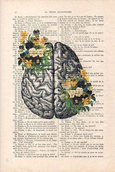 Cerebro arte Print en los carteles de Botánica Flores página
