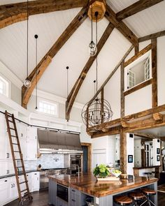 Heavy Timber Beams Offer An Eclectic Vibe In This Rustic Kitchen images ideas from Home Inteior Ideas Modern Farmhouse Kitchens, Rustic Kitchen, New Kitchen, Kitchen Decor, Kitchen Ideas, Kitchen Island, Rustic Farmhouse, Kitchen Box, Basement Kitchen