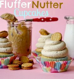 Fluffernutter Cupcakes - peanut butter and marshmallow swirl frosting is THE BEST!!