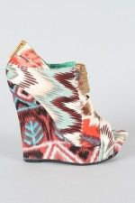 Bamboo Driven-68 Tribal Patchwork Wedge Bootie