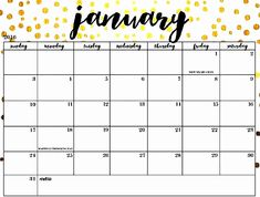 13 Best Free January 2019 Calendar Printable Images