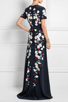 ERDEM Samira floral-print silk-crepe gown