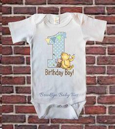 Winnie The Pooh First Birthday One Piece Boys by BrooklynBabyTees