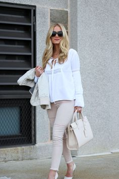 Blush Jeans with Boho White Blouse