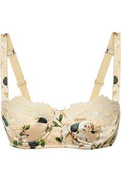 Dolce  Gabbana   Rose-print stretch-silk balconette bra