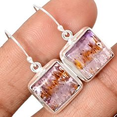 Cacoxenite Super Seven Mineral Melody Stone 925 Sterling Silver Earrings Jewelry CACE451