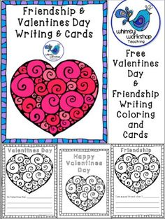 FREE friendship writing prompts and Valentines cards using swirly heart graphics. The graphics are also FREE! Whimsy Workshop Teaching http://whimsyworkshop.blogspot.ca/