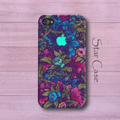 iPhone 5 Case, Floral iPhone 4 Case Garden Flowers iPhone 5 Cover iPhone 5s Case Cute iPhone 4 Case Blue Girly Pretty Unique Christmas Gift