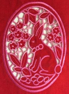 Advanced Embroidery Designs - Easter Bunny Lace. Embroidery Patterns, Machine Embroidery, Lacey Pattern, Uncommon Threads, Advanced Embroidery, Lace Design, Easter Bunny, Bunnies, Cross Stitch