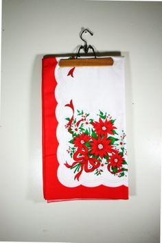 Vintage Christmas Tableloth Large by vintagefindsetcetera on Etsy, $24.00