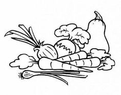 Vegetables And Fresh Healthy Fruit Coloring Page Okul Oncesi