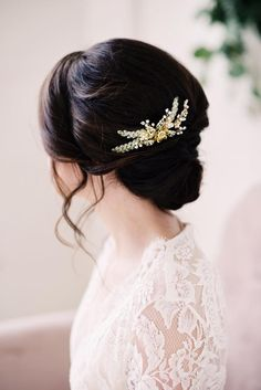 """Our delicate and ornate gold beaded hair comb is made with hand wired crystals, beads, vintage findings and attached to a small wire comb for a secure fit. Gold in color. Measures at approx 4.5"""". -Pho"""