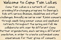 Camp Twin Lakes www.camptwinlakes.org