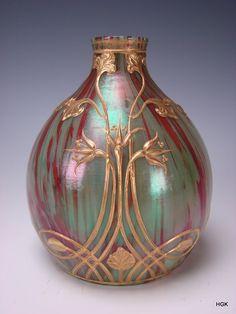 Antique Loetz Marmoriertes Art Nouveau Gilt Iridescent Glass Vase