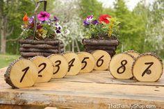 Rustic Wedding Burned Log Table Numbers Wood Bark by HomenStead, $8.00