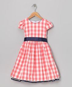 Take a look at this Coral & Navy Gingham Dress - Toddler & Girls by Gidget Loves Milo on #zulily today!