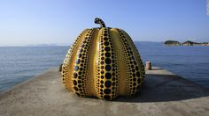 """Naoshima, Japan Pop art precursor Yayoi Kusama, who's often credited with influencing Andy Warhol, was commissioned to create """"Pumpkin"""" for Naoshima. The sculpture has become a Naoshima icon, and smaller stone imitations are found dotted around the island."""