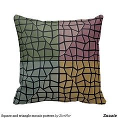 Square and triangle mosaic pattern throw pillows
