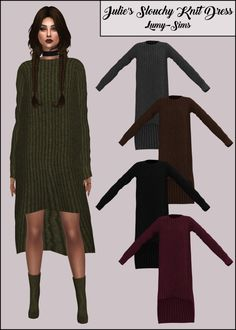 LumySims: Julie's Slouchy Knit Dress • Sims 4 Downloads