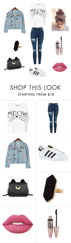 """Day ❤"" by maxonwife ❤ liked on Polyvore featuring Miss Selfridge, Topshop, Chicnova Fashion, adidas, Usagi, Jaeger, Lime Crime and Maybelline"