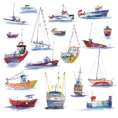 Fishing Boats (P-LH24) Boats Print by Laura Hughes http://www.thewhistlefish.com/product/fishing-boats-print-by-laura-hughes-p-lh24