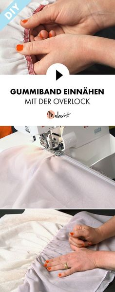 Ruffle with the overlock machine: rubber band - step by step explained in . - Ripple with the overlock machine: rubber band – step by step explained in the video course via Ma - Sewing Hacks, Sewing Tutorials, Sewing Patterns, Sewing Tips, Curling, Overlock Machine, Ribbon Yarn, Pouch Tutorial, Sewing Projects For Beginners