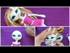 How to attach yarn hair to an amigurumi doll - tutorial. Crochet Quilt, Crochet Doll Pattern, Free Crochet, Knitted Dolls, Crochet Dolls, Monster Dolls, Doll Eyes, Doll Tutorial, Tricot