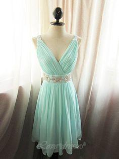 Elegant V-neck Mint Green Short Prom Dresses Beading Chiffon Evening Party Dresses S425 on Luulla