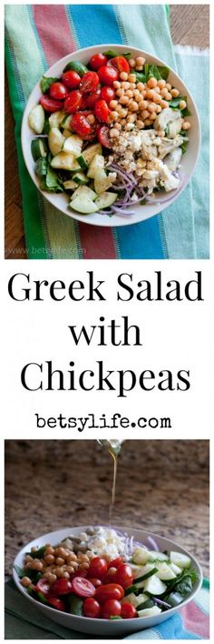 Greek Salad with Chickpeas. Healthy, meatless, and delicious.