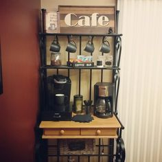 Turned our bakers rack into a coffee bar