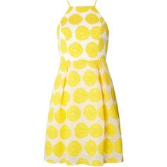 Dorothy Perkins Yellow Floral Prom Dress (280 BRL) ❤ liked on Polyvore featuring dresses, yellow, fit and flare prom dresses, yellow dress, floral fit and flare dress, cocktail prom dress and yellow cocktail dress