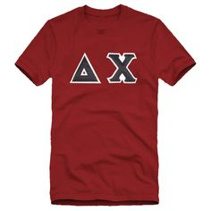 Delta Chi Deep Red Sewn On Letters Tee