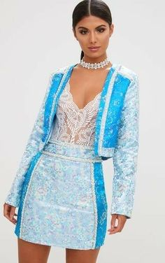 Premium Blue Embellished Cropped JacketGirl we are totally crushin' on this hella cute cropped ja. Stylish Outfits, Fashion Outfits, Fashion Clothes, Festival Costumes, Doll Wardrobe, Aesthetic Clothes, Fashion Boutique, Nice Dresses, Clothes For Women