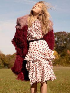 cool Anna Ewers models romantic dresses for Vogue US February 2016 shot by Karim Sadli [editorial]