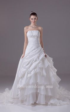 #Valentines #AdoreWe #Dorris Wedding - #Dorris Wedding Sleeveless A-Line Ruched Gown With Cascading Ruffles and Cinched Waistband - AdoreWe.com