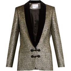 Racil Draco velvet-lapel metallic-brocade jacket (15 670 UAH) ❤ liked on Polyvore featuring outerwear, jackets, suit, metallic jacket, brown velvet jacket, slim fit tuxedo suit, tuxedo jacket and slim fit tuxedo jacket