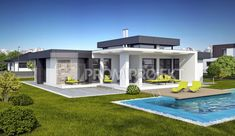Projekt bungalovu s terasou a galériou Linear vizuál, zrkadlový Promiprojekt Simple Bungalow House Designs, Modern Bungalow House, Cool House Designs, Modern House Design, Small Modern House Plans, Beautiful House Plans, House Plans Mansion, My House Plans, Plan Chalet