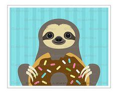 Modern and Whimsical Animal Wall Art Prints by leearthaus Baby Sloth, Cute Sloth, Cute Animal Drawings, Cute Drawings, Kid Art, Art For Kids, Sloth Eating, Cookie Drawing, Aniversario Star Wars