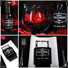 Delightful Elegant Red/Black Table Setting #favors #koozies Part 25