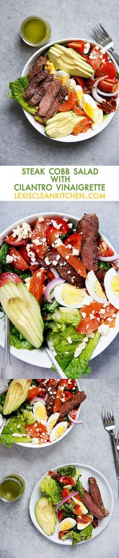 Steak Cobb Salad with Cilantro Vinaigrette {30 minutes or less, paleo friendly, gluten-free}   Lexi's Clean Kitchen