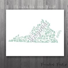 Virginia Landmark Custom State Print  8x10 Giclée by PaintedPost, $18.00 #paintedpoststudio - Custom Virginia Map Artwork- What a great and memorable gift for graduation, sorority, hostess, and best friend gifts! Also perfect for dorm decor! :)