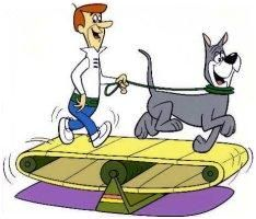 George Jetson walks Astro the dog. The Jetson's were probably my second most like cartoon.  Debby