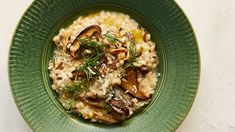 Nutty pearl barley stands in seamlessly for rice in this hearty risotto starring garlicky sauteed mushrooms and a generous dose of fresh dill.