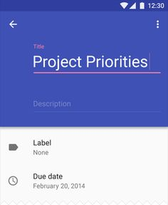 Material Design Description with title and label and field date. Awesome color theory applied. Good inspiration for material UI Design