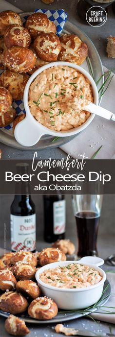 Obatzda German Beer Cheese Dip (Step-by-step Pictures + Video) - This dip, known as Obatzda in Germany, is centered around Camembert cheese…Creamy, zesty and abso - German Appetizers, Potluck Appetizers, Appetizer Recipes, Snack Recipes, Baked Camembert, Camembert Cheese, Cooking With Beer, Recipe Cover, Healthy Dips