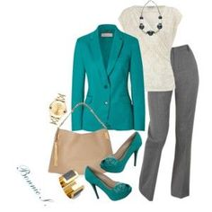 Teal, grey & white outfit for work etc