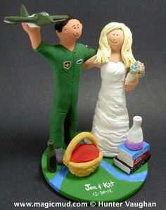 Air Force Pilot Wedding Cake Toppers  custom made for any soldier or marine of the Army, Navy, Air Force or any other outfit!  www.magicmud.com 1800 231 9814     $235 magicmud@magicmud.com https://www.facebook.com/PersonalizedWeddingCakeToppers http://blog.magicmud.com www.twitter.com/caketoppers  #marine #military #soldier #uniform #army #navy #wedding #cake #toppers #custom #personalized #Groom #bride #anniversary #birthday #wedding_cake_toppers #cake_toppers #figurine#gift
