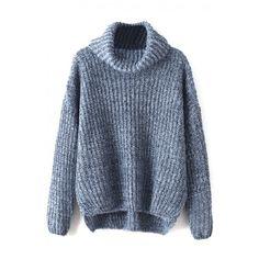 Turtleneck Long Sleeve Plain Dip Hem Sweater (1.550 RUB) ❤ liked on Polyvore featuring tops, sweaters, blue top, polo neck sweater, turtle neck sweater, long sleeve sweaters and blue sweater